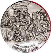 LOVE/INES DE CASTRO IMPLORING KING / STERLING SILVER ON BRONZE MEDAL by BERA M34