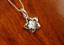 Hawaii Jewelry 925 Sterling Silver PLUMERIA ENGRAVING Pendant Necklace ESP2504