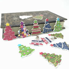 50PCS Wooden Button coloured lights star Christmas Tree Sewing scrapbooking 34mm