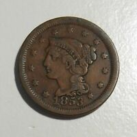 1853 Braided Hair Large Cent 1c circulated U. S. coin