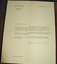 EDOUARD BOURDET Autographe Signé 1939 ADMINISTRATEUR COMEDIE-FRANCAISE POZZI