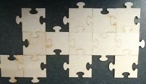 25x Jigsaw Puzzle Pieces Laser Cut MDF Wooden Craft Blank Shapes Free Postage