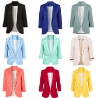 Fashion Womens Long Sleeve Cardigan Casual Lapel Blazer Suit Jacket Coat Outwear