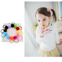12Pcs Baby Girls Kids Faux Fur Ball Ties Ball Hair Rope Ring Ponytail Holder
