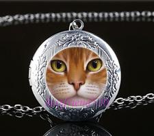 Cat Face Cabochon Glass Photo Tibet Silver Chain Locket Pendant Necklace