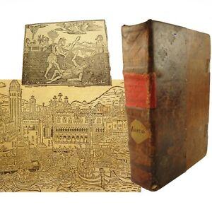 1520 Supplementi de le Chronich Vulcare,Jacobo Foresti.Binding,map,woodcuts,etc.