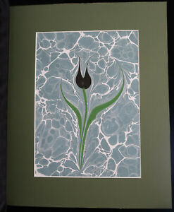 Turkish Tulip, marbled painting with mat