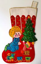 Vintage Bucilla CHRISTMAS MORNING Stocking # 2314 Completed / Finished AS IS