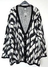 NEU Übergröße ausgefallener Damen Flausch Strickjacke schwarz weiß silber Gr.62