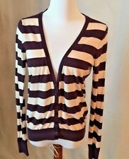 Victoria Secret  Plum/Off White Striped Cardigan SZ Medium  Excellent Condition