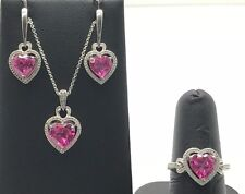 Sterling Silver Heart Pink Sapphire Diamond Cut Halo Necklace Ring Earring Set