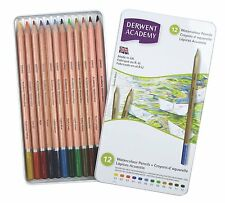 Derwent Academy Watercolour Pencils Tin Set of 12 Assorted Water Soluble Colours