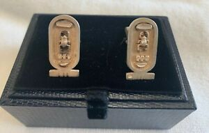 Vintage Silver Egyptian Mens Cuff Links