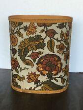 Vintage CHEINCO Metal Waste Basket Mod Bark Cloth Covered 60's Harvest Gold