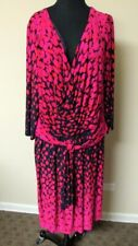 DAVID MEISTER Black Red Animal Print Polyester Blend Lined Dress Size 24W HH0656