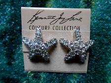 Kenneth Jay Lane Silver Plated Crystal Starfish Pierced Earrings