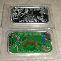Set Of 2 UP IN SMOKE Weed Marijuana Canibus .999 Silver Enameled Art Bars CBD