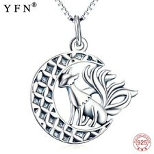 925 Silver Nine Tail Fox Pendants Necklaces Moon Animal Xmas Gifts For Her Women