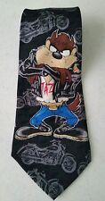 Vtg 1996 TAZ Tazmanian Devil Looney Tunes Mania Motorcycle Biker Tie Necktie Blk