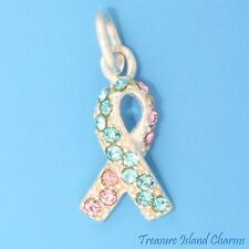 INFANT BABY LOSS RIBBON .925 Sterling Silver Charm BLUE PINK SWAROVSKI CRYSTALS