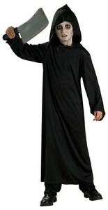 Hooded Black Horror Robe Costume Boys Kids Grim Reaper Halloween Child Ghoul
