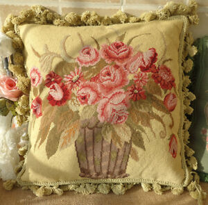 "16"" VTG. Pastel Red Rose Bouquet Bonsai Floral Needlepoint Hand Woven Pillow"