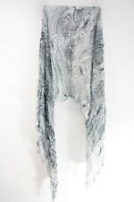LADIES WHITE GREY FLORAL GRAPHIC INSPIRED TASSELED SCARF UNQIUE NEW (MS34)
