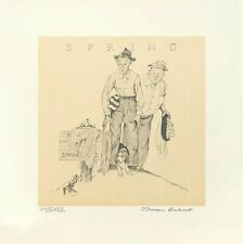 Hand Signed Norman Rockwell Spring Four Seasons No Swimming Spectacular Framed
