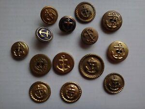 Groupe De 14 Marine Ancre Logo Couleur Or Boutons Pour Manteaux Et Chemises