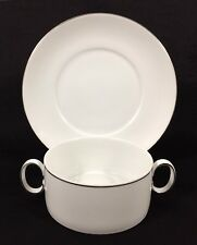10pc Thomas Germany Rosenthal MEDAILLON White Silver Line Cream Soup Bowl Saucer