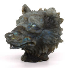 Wolf Head Bust Healing Natural Gemstone Labradorite Carved Stone Ornament Statue