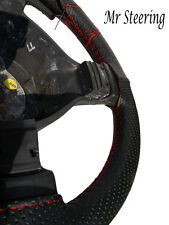 FOR PEUGEOT 306  REAL BLACK PERFORATED LEATHER STEERING WHEEL COVER RED STITCH