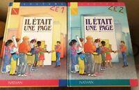 """2 Livres de Lecture """"il était une page"""" CE1 & CE2 Nathan 1990"""