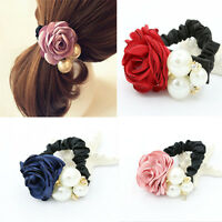 HOT Satin Ribbon Flower Pearls Hairband Rope Scrunchie Ponytail Holder Hair Band