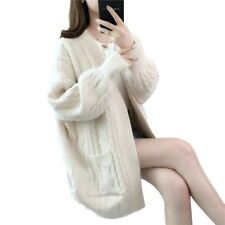 Women Long Sleeve Twist Knit Sweater Cardigan Mid Length Oversize Autumn Coats B