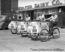 Young Men on Worster Ice Cream Bicycle Carts - Historic Photo Print