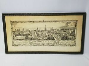 Birdseye Pictorial Map Towers of Oxford University Print Etching Edmund Hort New