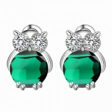 Cubic Zirconia Owl Stud Earrings 18K White Gold Plated Emerald Green