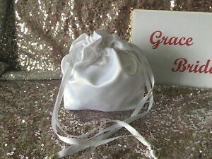 WHITE PLAIN HOLY COMMUNION DOLLY BAG DUCHESS SATIN BRIDESMAID FLOWER GIRL