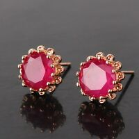 Fashion jewellery! ruby 18K gold filled Artistic luxury stylish stud earring