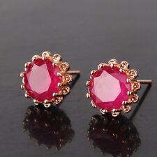 Fashion jewellery! ruby 18K gold filled Artistic luxury stylish stud earring