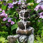 Solar Fairy Fountain Outdoor Garden Water Feature Led Polyresin Statue Decor