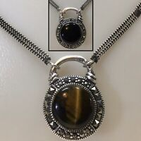 Vtg Victorian Sterling Silver 2 Sided Onyx & Tigers Eye w Marcasite Necklace 925