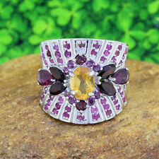 Fancy Yellow Citrine With Multi Color Gemstones Beautiful Women's Stylish Band