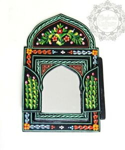 Moroccan Wall Mirror Doors Hand Painted Colorful Wood Decorative Boho Black