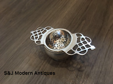 Antique Vintage Tea Strainer Silver Plated EPNS & Drip Tray for Loose Tea Double
