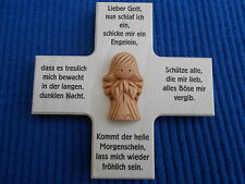 Kinderkreuz mit Keramikengel - Schutzengel Holzkreuz 12 x 12 cm Geschenk Neu