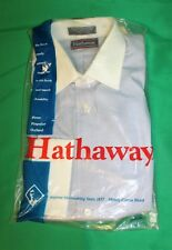 NOS NWT Vintage 80's Men's HATHAWAY Oxford Blue White French Cuff Shirt M USA