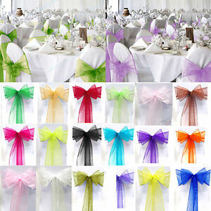 1PCS Blue Organza Chair Cover Sash Bow Wedding Party Reception Banquet Decor