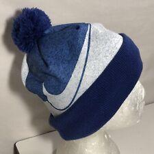 *Nike Big Boy Swoosh Fold-over Knit Cuff Acrylic Beanie Hat OS 7-16 Blue